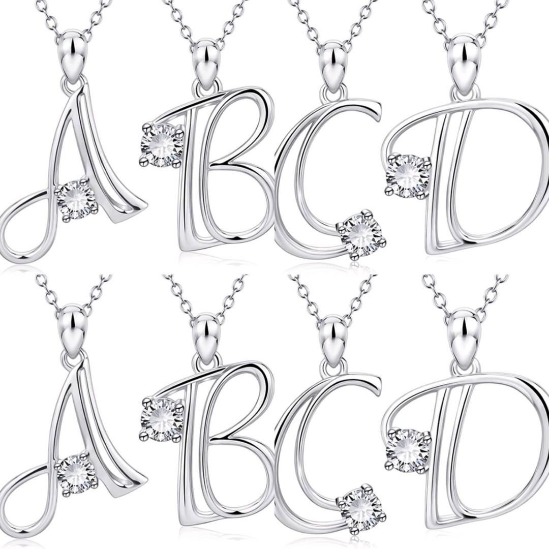 925 Sterling Silver Diamond Pendant Alphabet Initial Necklace