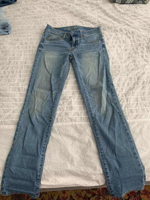 American Eagle Light Blue Mid-Rise Straight Cut Jeans