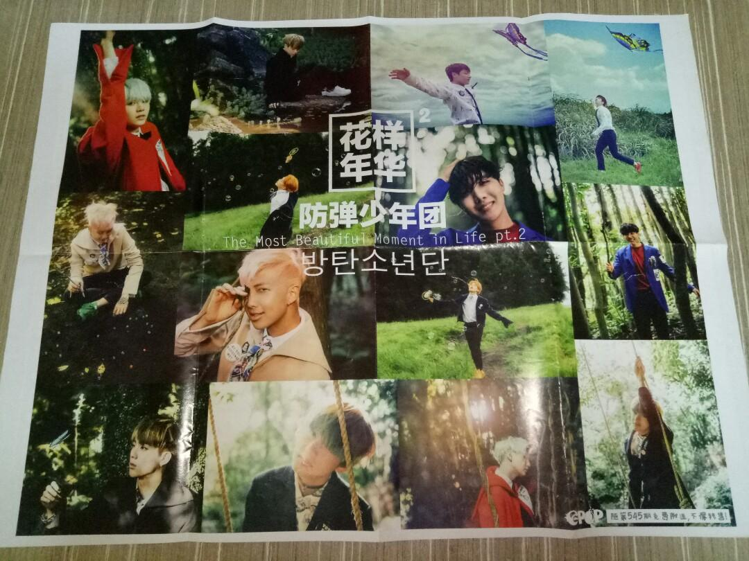 BTS <花样年华 The Most Beautiful Moment In Life pt.2> / EXO <SING FOR YOU> double page poster