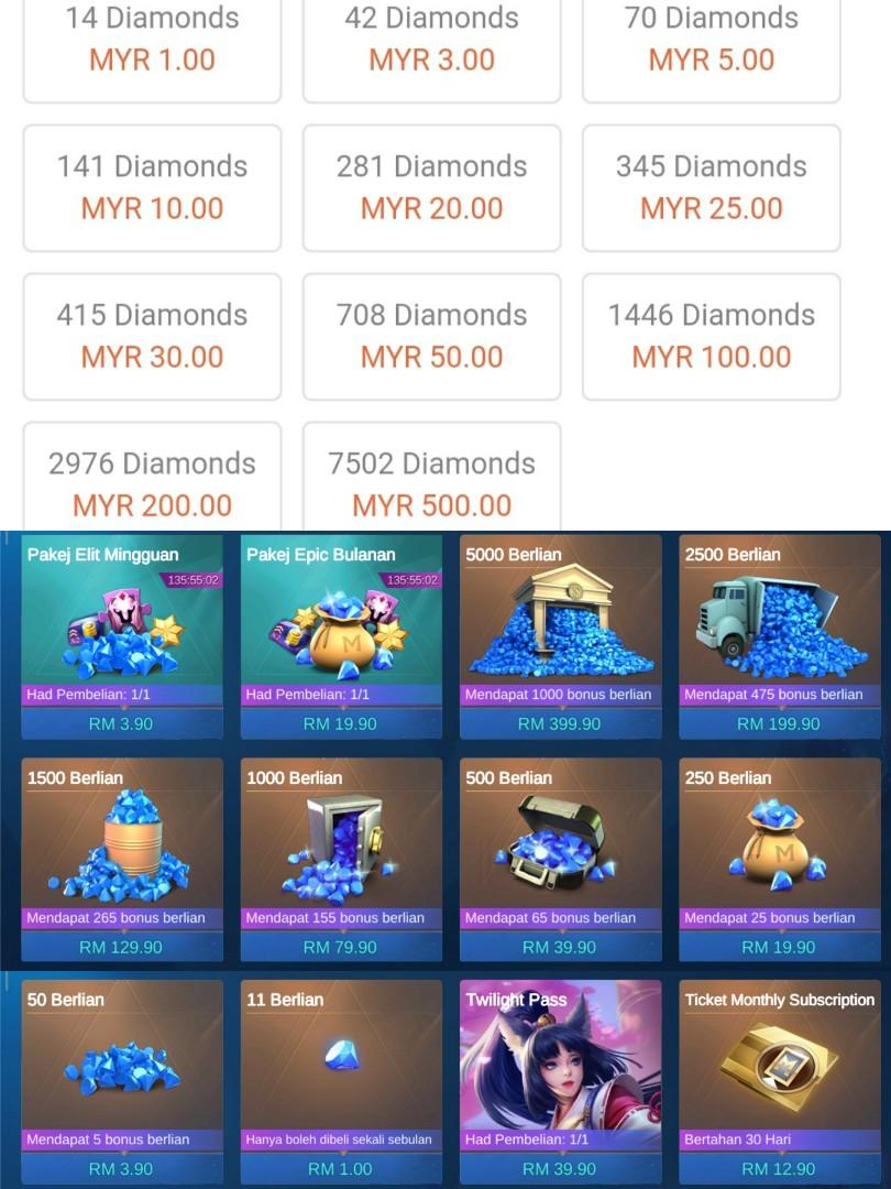 Discount Diamond Mobile Legends Tickets Vouchers Gift Cards Vouchers On Carousell