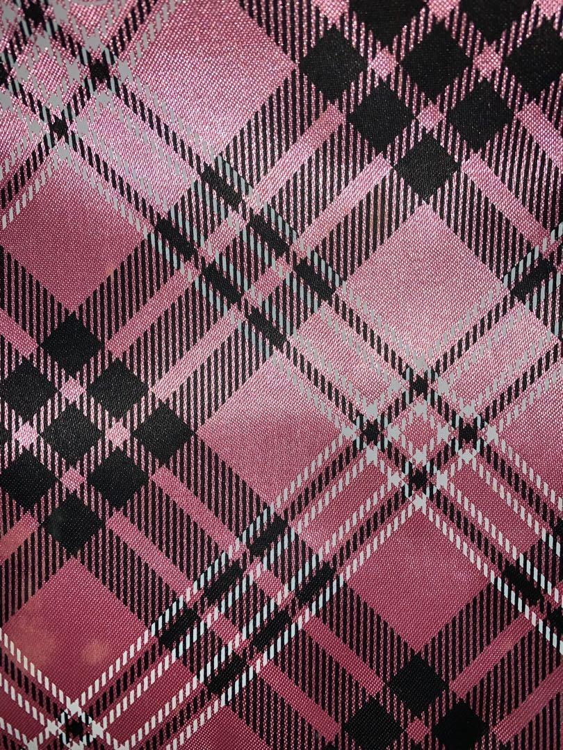KnightsBridge 粉色格紋時尚手提包 手提袋 購物袋 防水內裡 立體包底 大容量 磁扣開口 全新 專櫃品牌 經典款