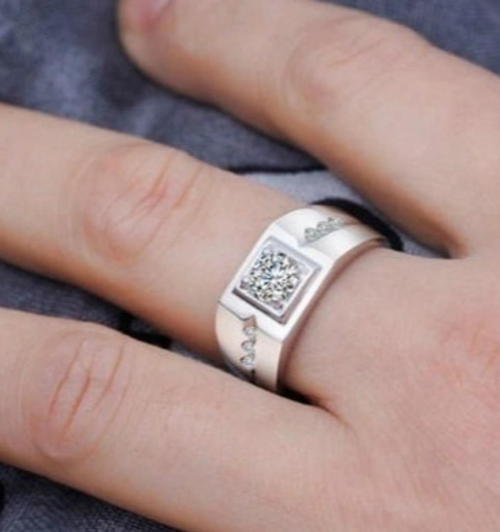 Mens Sterling Silver White Sapphire Diamond CZ Ring