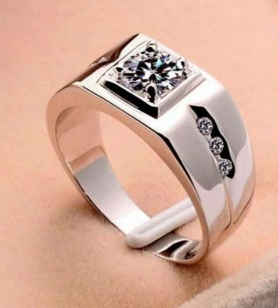 Mens Sterling Silver White Sapphire Diamond CZ Ring
