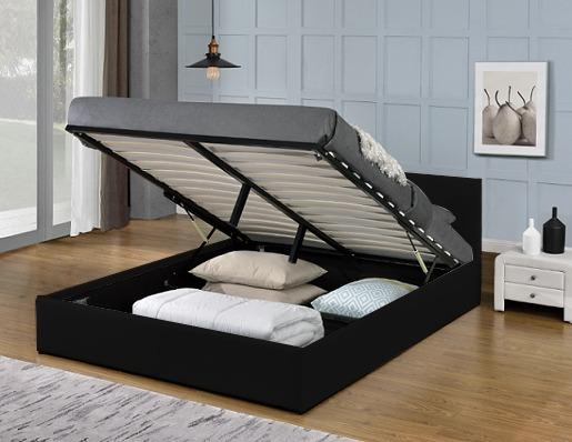 MONICA GAS LIFT PU LEATHER BED FRAME IN QUEEN, BLACK/WHITE