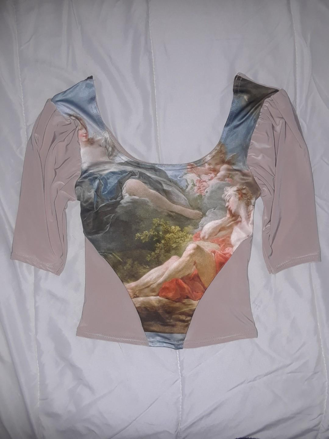 NEW holy print nude mesh bodice top shirt classical art square neck XS dollskill