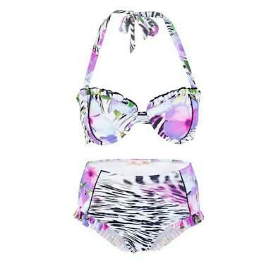 NWT Alannah Hill Bikini Set -High Waisted Balconette Underwire Halter Neck Size 10/ Small