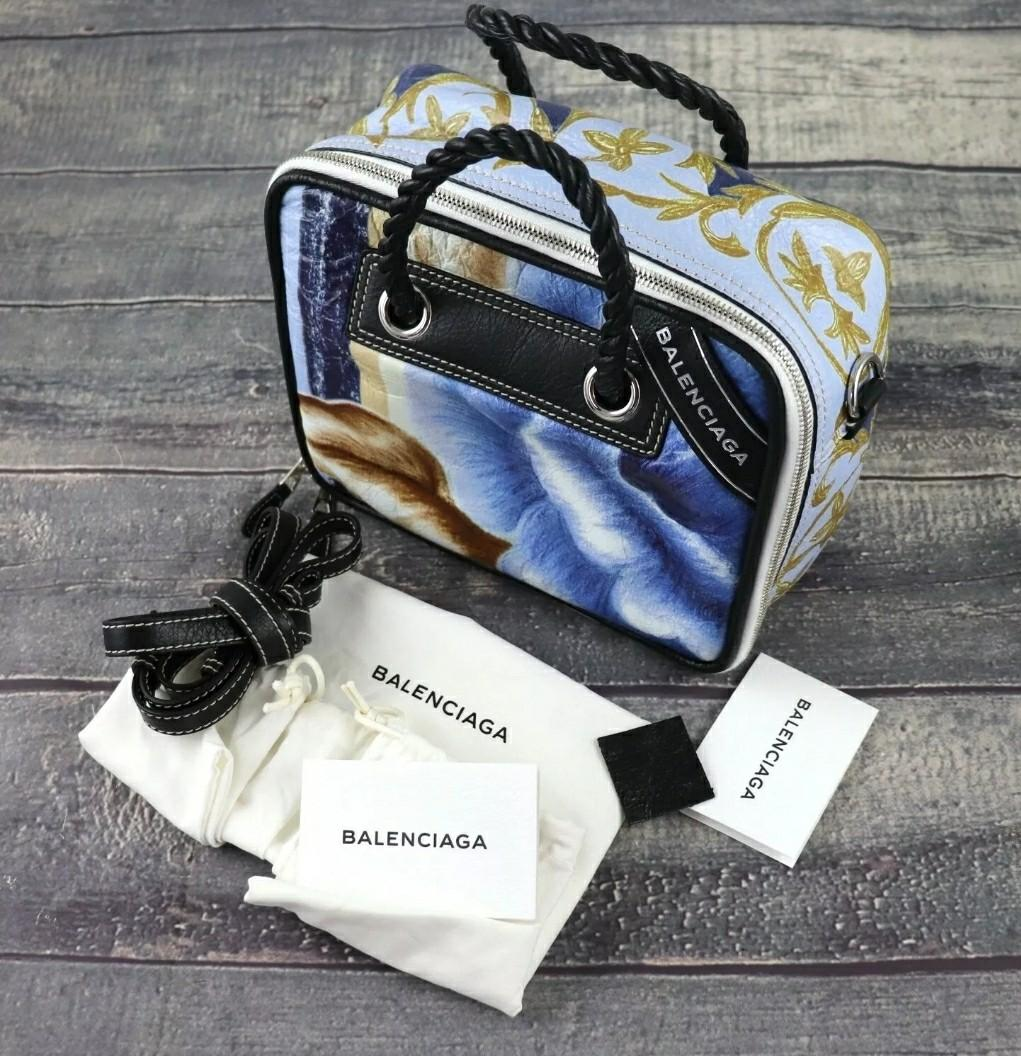 NWT BALENCIAGA Blanket Square Blue Leather Sand Print Handbag