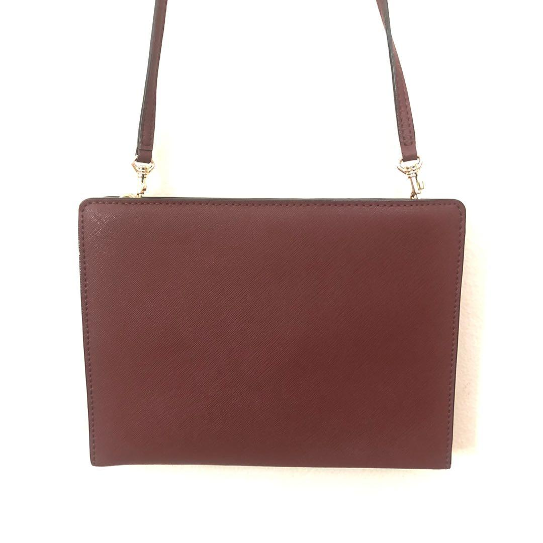 OROTON GENUINE MAROON RED LEATHER SMALL SHOULDER BAG