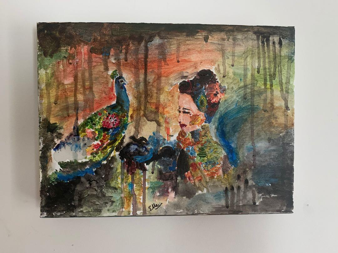 Peacock and lady , acrylic on canvas paint done by me