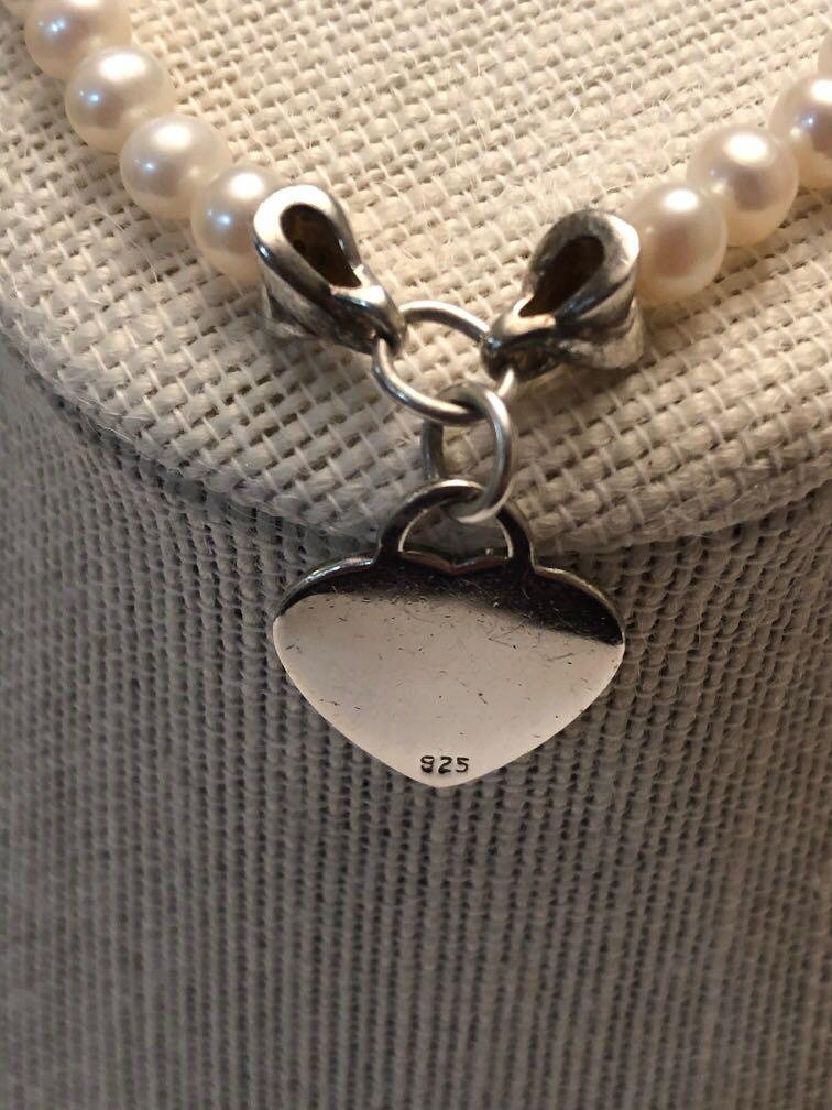 Cultured pearl  bracelet with sterling silver heart pendant