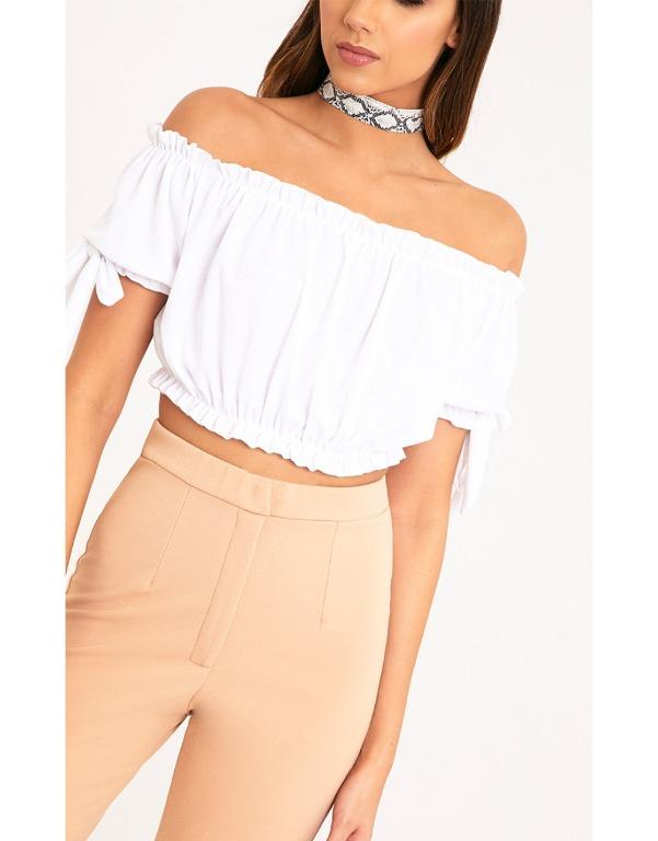 PRETTY LITTLE THING NORAH WHITE BARDOT BOW OFF SHOULDER SLEEVE JERSEY CROP TOP