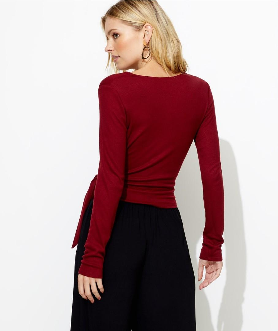 Sportsgirl marrooon red wine long sleeve wrap top size xxs