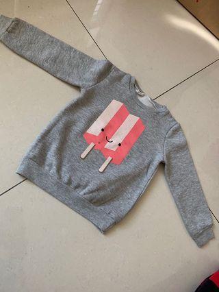 女童刷毛上衣 冰淇淋🍦圖案上衣 保暖上衣 T恤 帽T