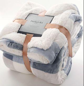 暖熙法蘭絨羊羔絨雙面保暖蓋毯-9色可選