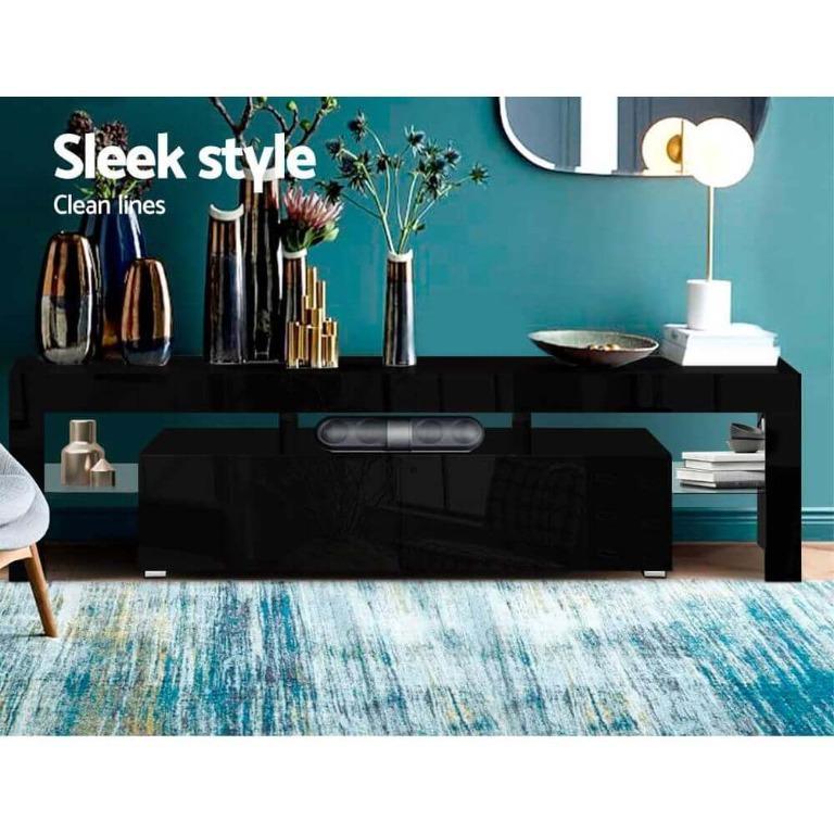 Artiss 189cm RGB LED TV Stand Cabinet Entertainment Unit Gloss Furniture Drawers Tempered Glass Shelf Black