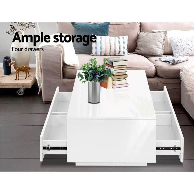 Artiss Modern Coffee Table 4 Storage Drawers High Gloss Wooden Shelf White