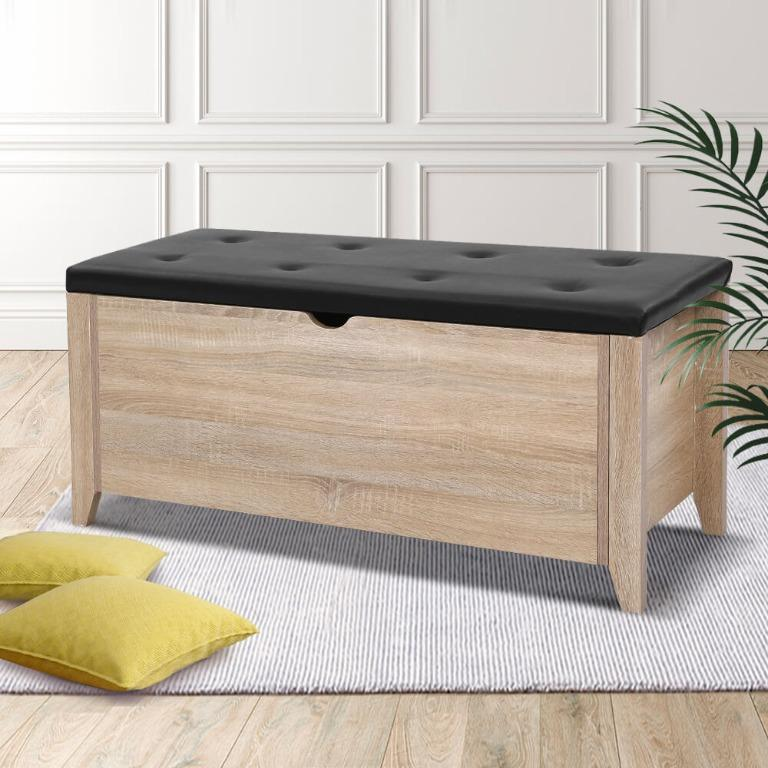 Artiss Storage Ottoman Blanket Box Leather Bench Foot Stool Chest Toy Oak Couch