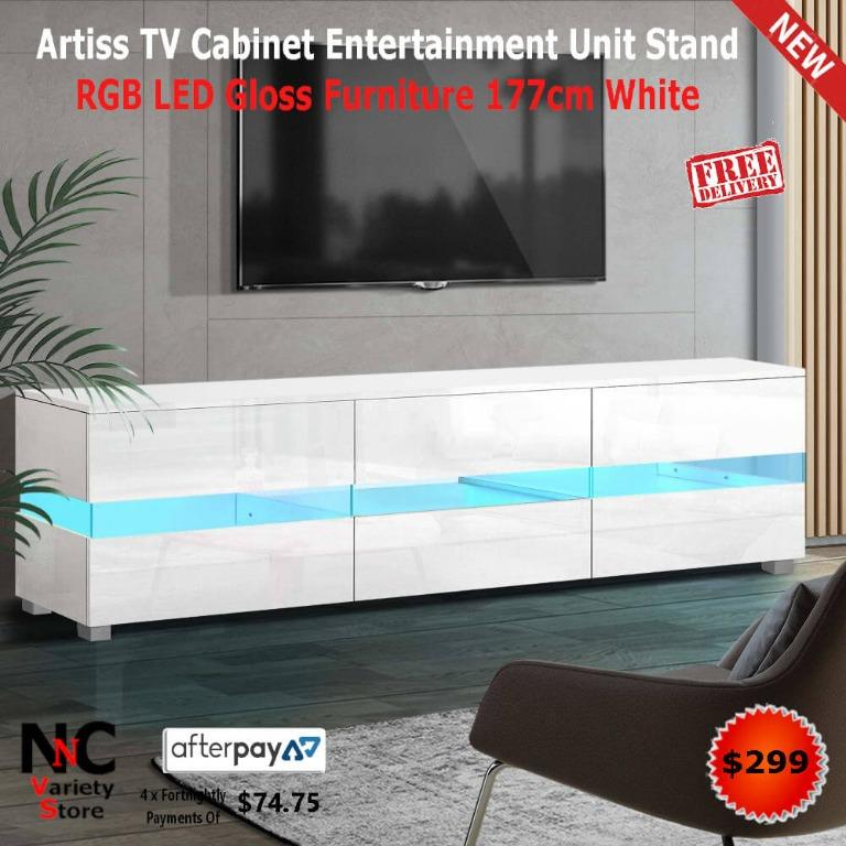 Artiss TV Cabinet Entertainment Unit Stand RGB LED Gloss Furniture 177cm White