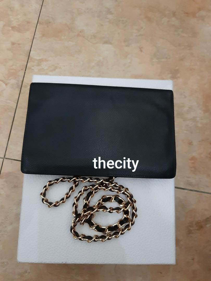AUTHENTIC CHANEL BLACK CAVIAR LEATHER- XL ORGANIZER POUCH / WALLET- CC LOGO DESIGN - LEATHER IN GOOD CONDITION, CLEAN INTERIOR- GOLD HARDWARE- HOLOGRAM STICKER & DATE OF PURCHASE STICKER INTACT - WITH AUTHENTICITY CARD -  WITH EXTRA ADD HOOKS &  STRAP