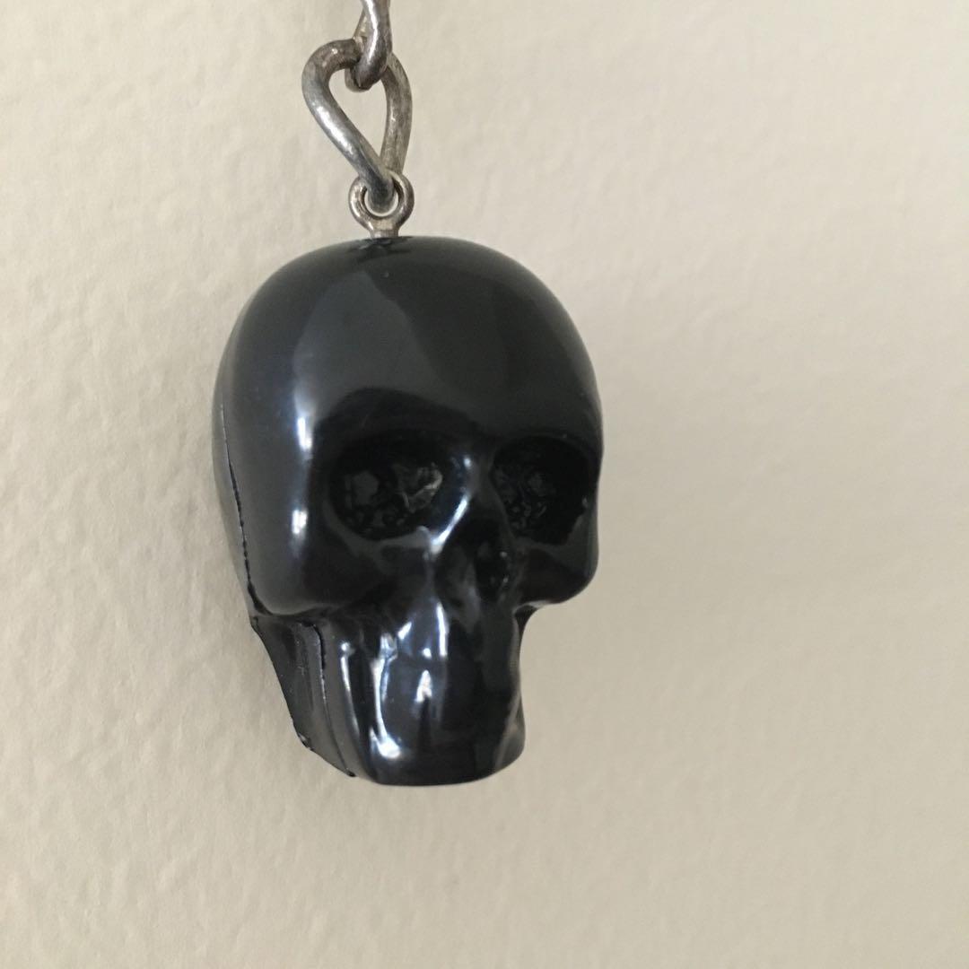 Black Lipstik goth skull keychain keyring accessory