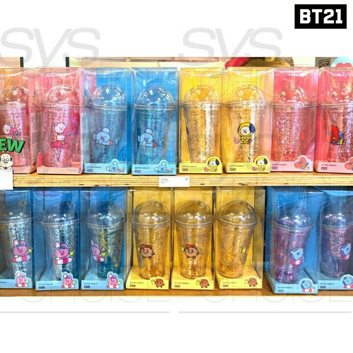Official BT21 BTS Authentic Glitter Gold Cup Tumbler