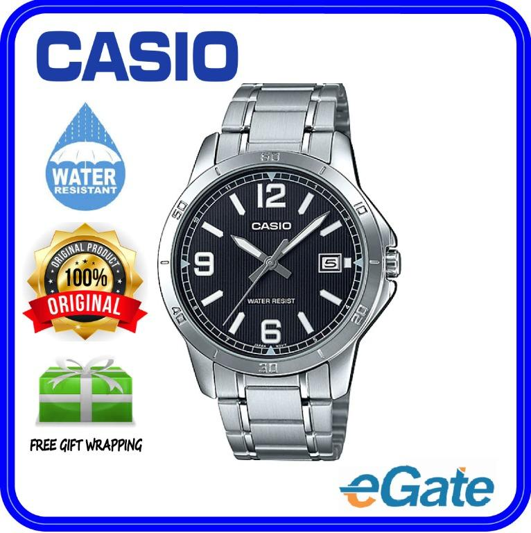 Casio MTP-V004D-1B2 & LTP-V004D-1B2 Couple Analog Date Functioning Classic Black Dial Stainless Steel Strap Original Casual Watch