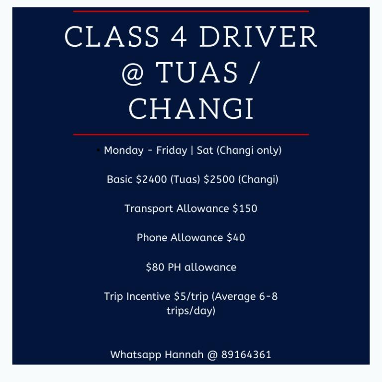 Class 4 Driver @ Tuas / Changi (Gross up to $4000) LL