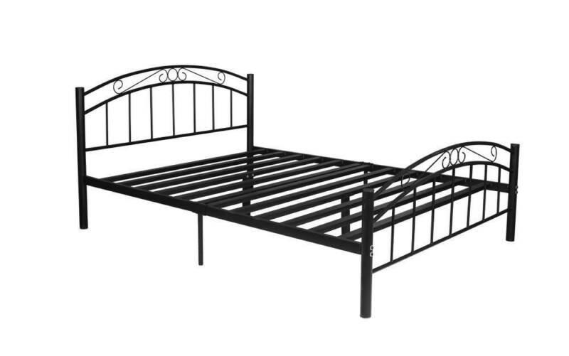CLEVELAND STURDY METAL QUEEN BED FRAME - (BLACK / WHITE)