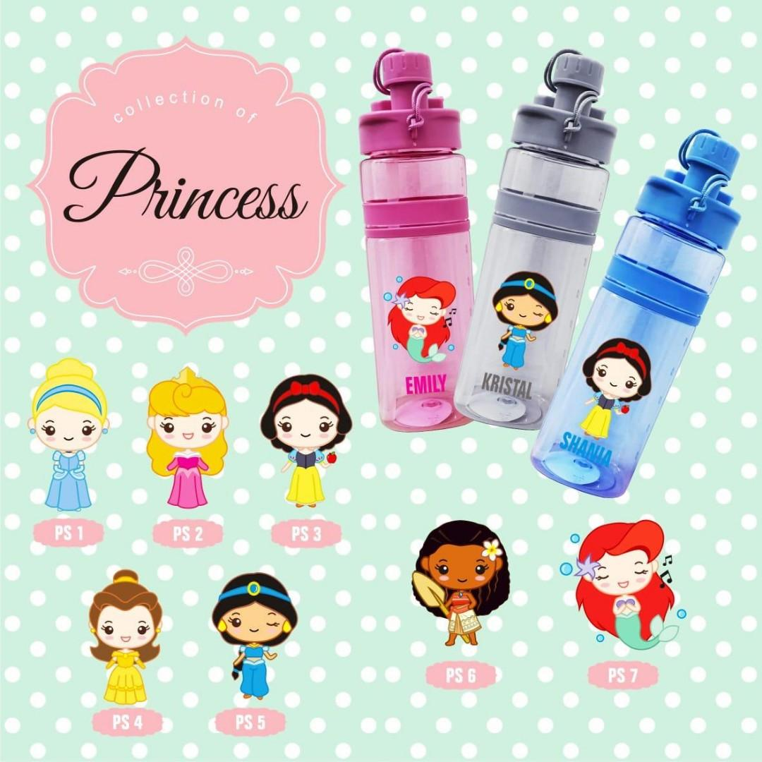 Disney princess water bottle 600ml personalised with yr name