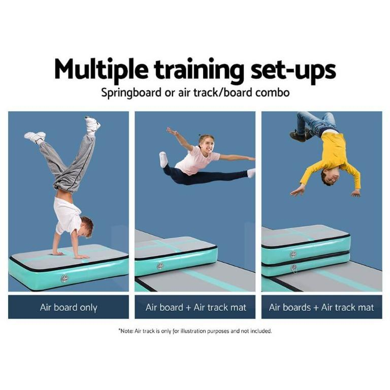 Everfit 1M Inflatable Air Track Board Tumbling Mat with Pump Airtrack Floor Gymnastics Mint Green