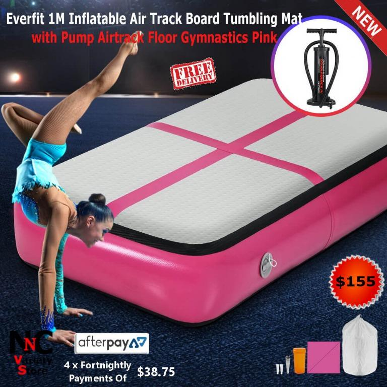Everfit 1M Inflatable Air Track Board Tumbling Mat with Pump Airtrack Floor Gymnastics Pink