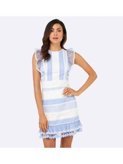 Forever New Kingston Lace Frill Dress Blue/White - SIZE 8