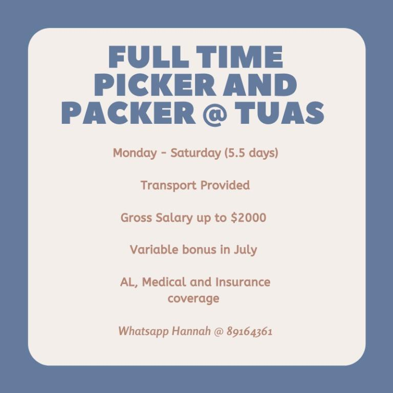 Full Time Picker and Packer @ Tuas (Up to $2000!!)