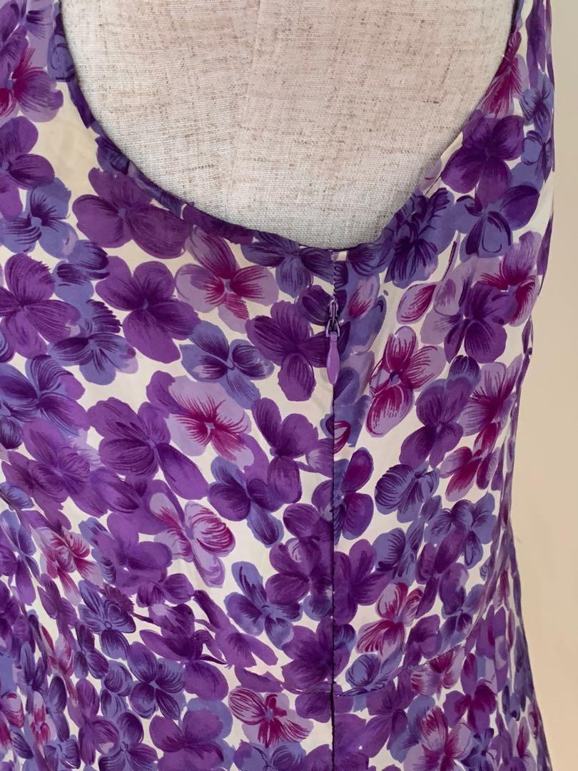 KEW White and Purple Silk Flower Print Dress, Size 10