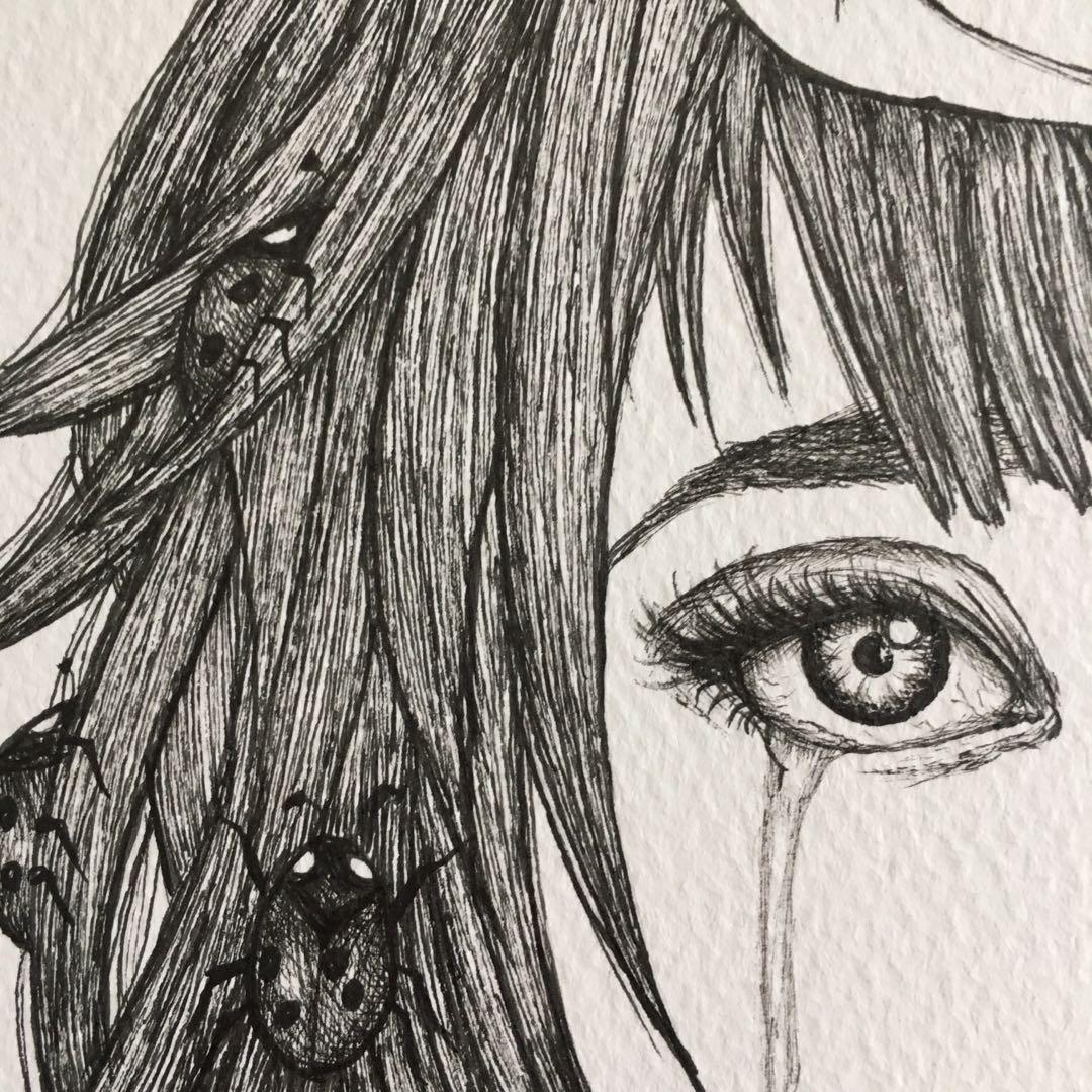 Ladybirds - A4 original hand drawn ink pen drawing
