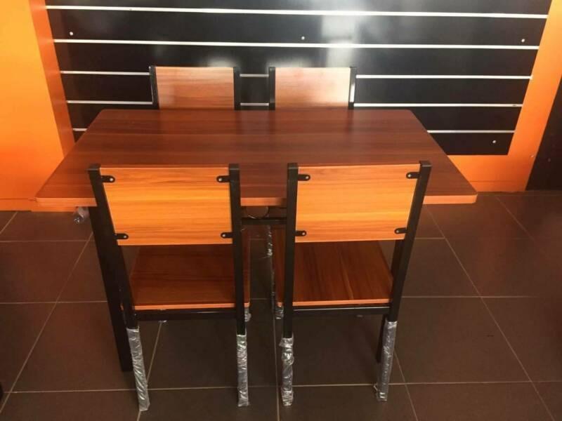 LEICHARDT DINING SET - 4 SEATS, WOODEN RECTANGULAR TABLE BEECH/BLACK
