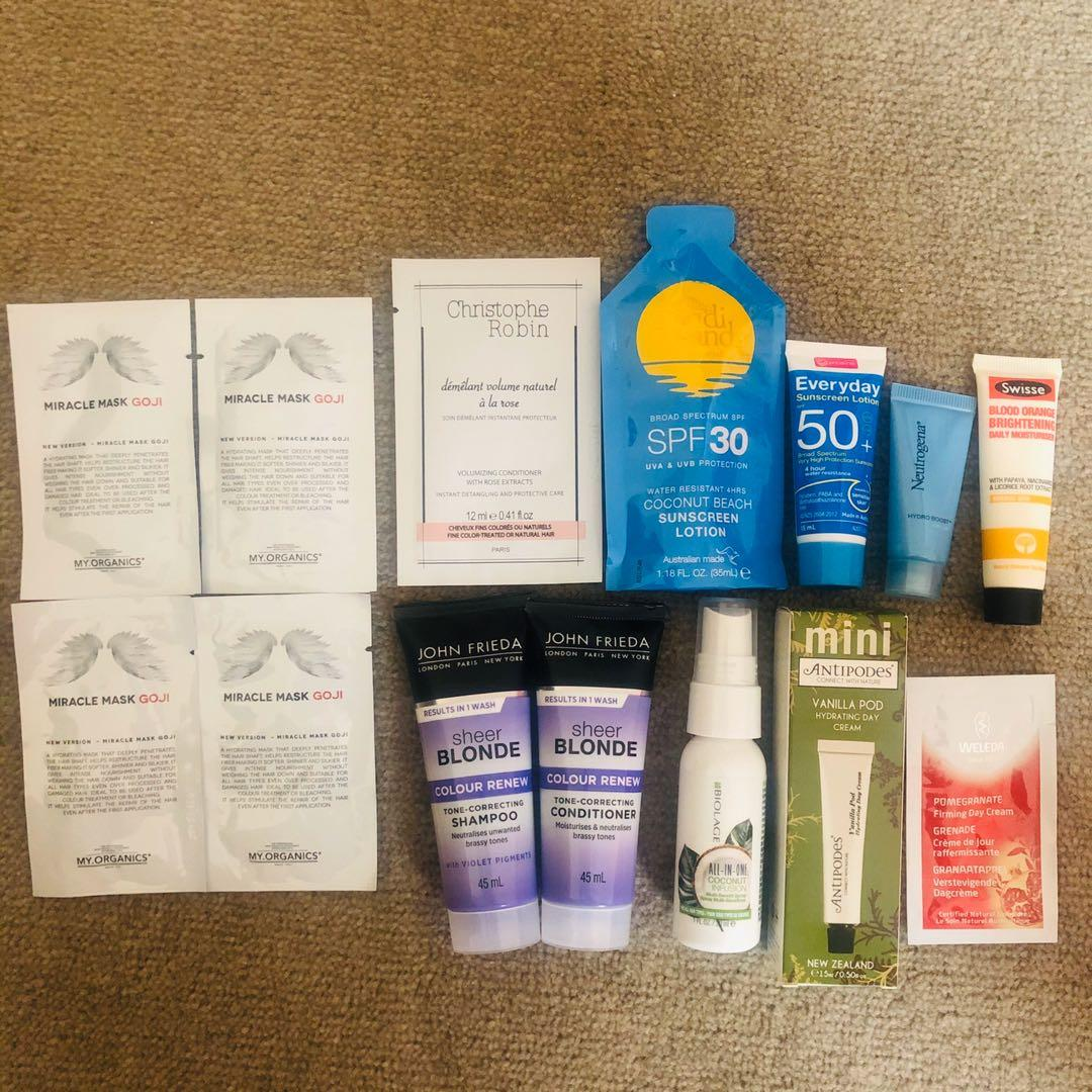 Mix samples incl. skin & hair Excellent for travel