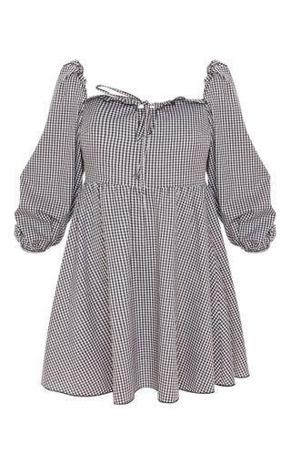 PrettyLittleThing Black Check Print Puff Sleeve Smock Dress