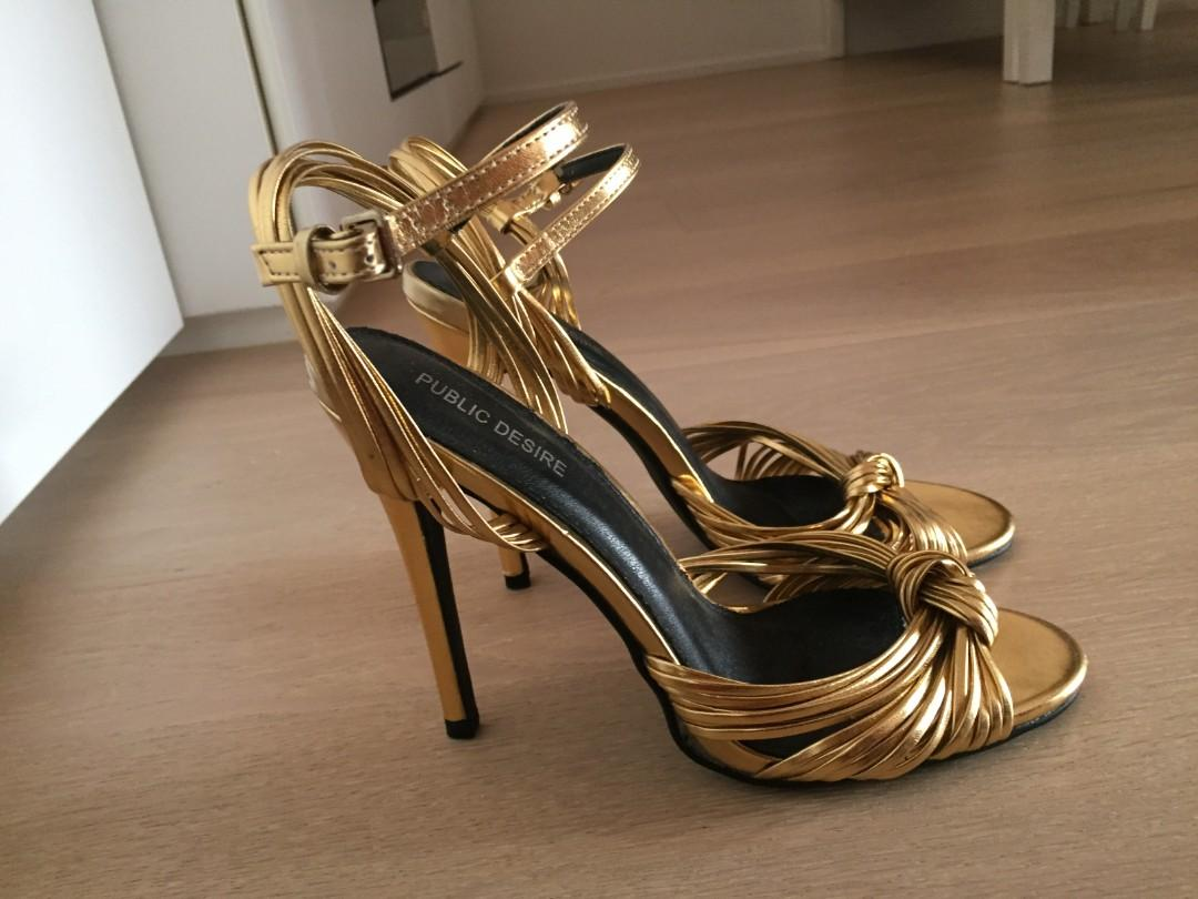 Public Desire gold strappy heels size 6 (excellent condition)