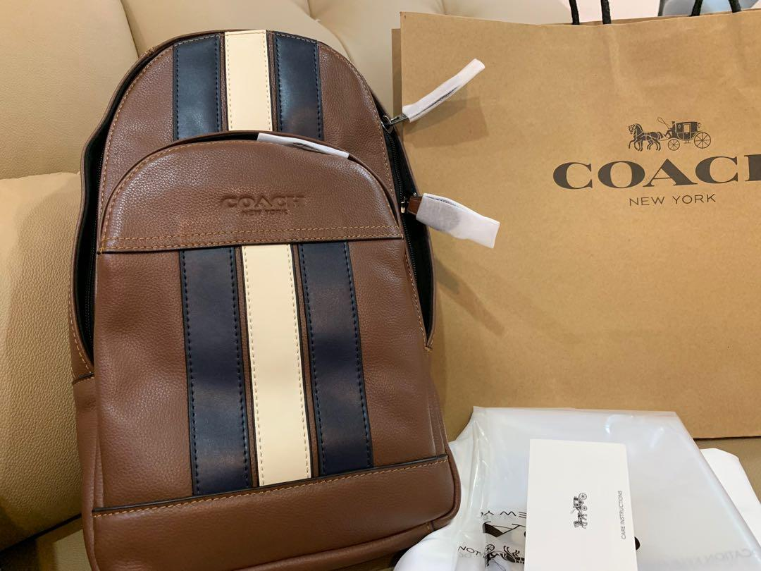 Ready stock authentic coach 49318 brown men backpack sling bag crossbody sling bag chest bag
