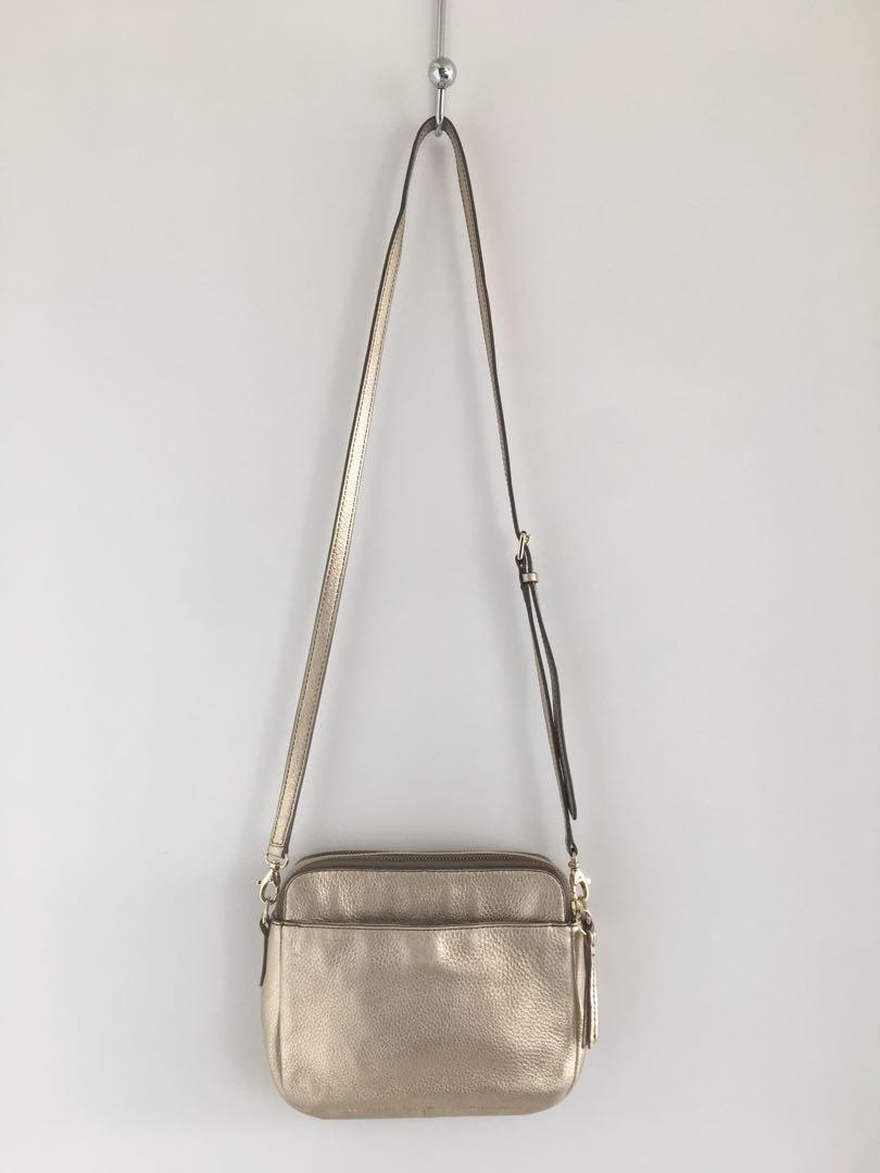 Vintage Coach beige nude 9076 and Fossil gold leather crossbody purse bag