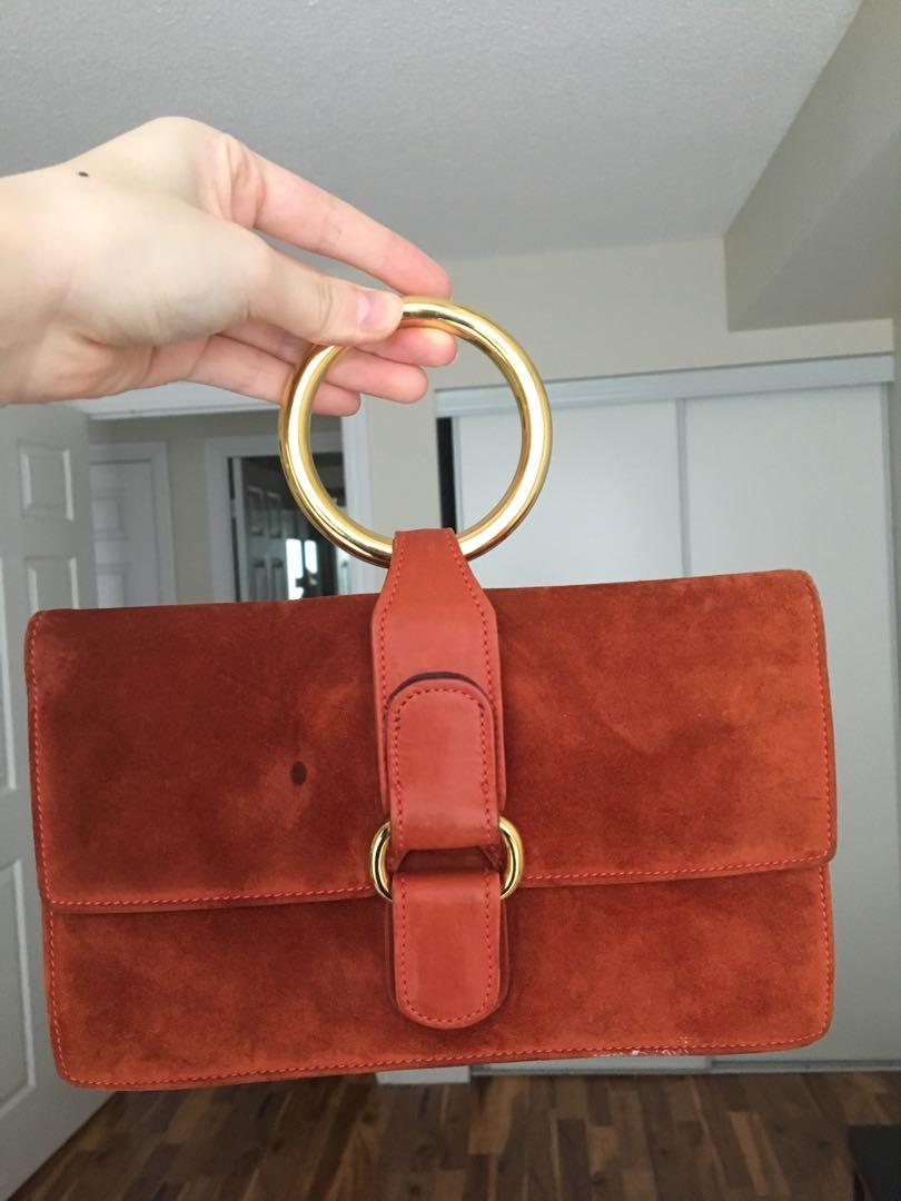 Vintage Gucci handbag, red suede with gold round handle