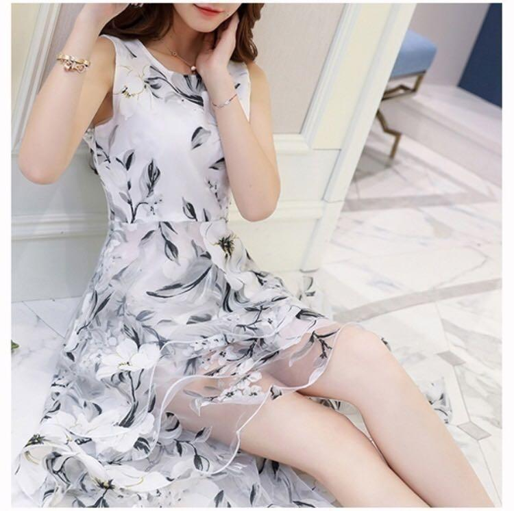 Xingyu Fashion: Women O-neck Lace Double Layer Flower Prom Party Dress