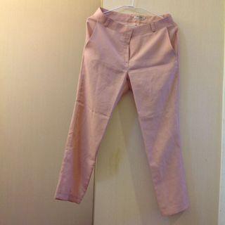 粉色麻料薄長褲