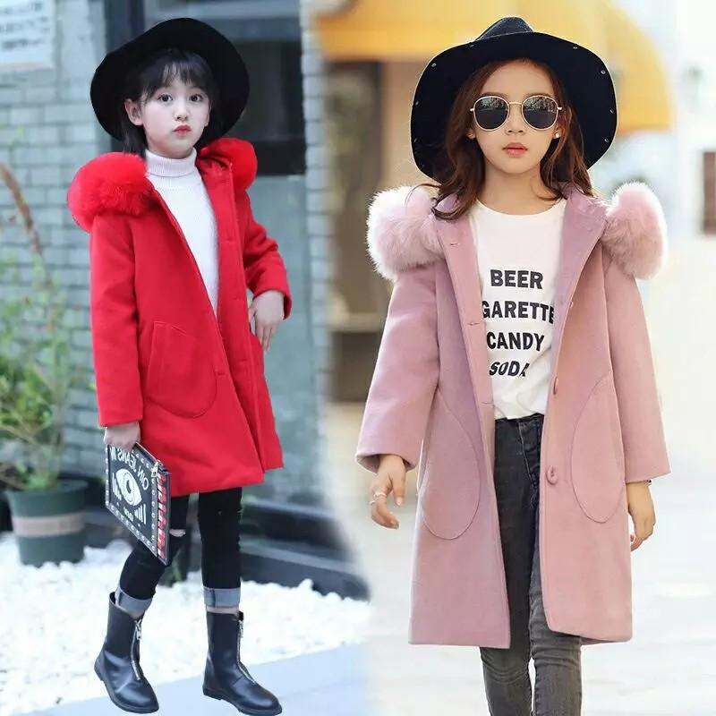 2019 Autumn Winter Girls Fashion Thickening Large Fur Collar Wool Coat Jacket