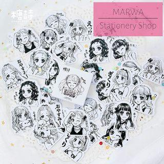 45pcs Hand Drawm Anime Art Girls Sticker Pack (Candy Poetry-CP064)