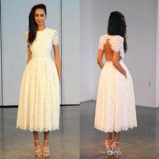 Vintage Lace Tea Length Wedding Dress