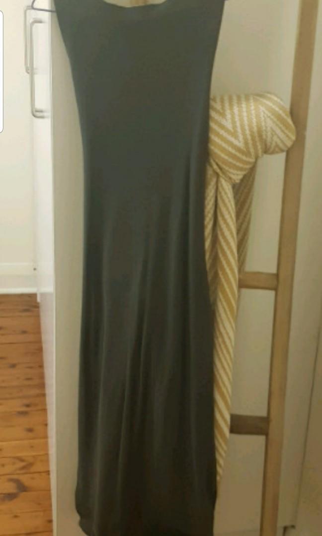 Dark green tie up light knitwear dress size 10 new