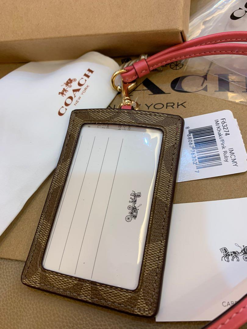 (Dec19)Ready Stock Authentic coach women office lanyard card holder with window ID Christmas gift