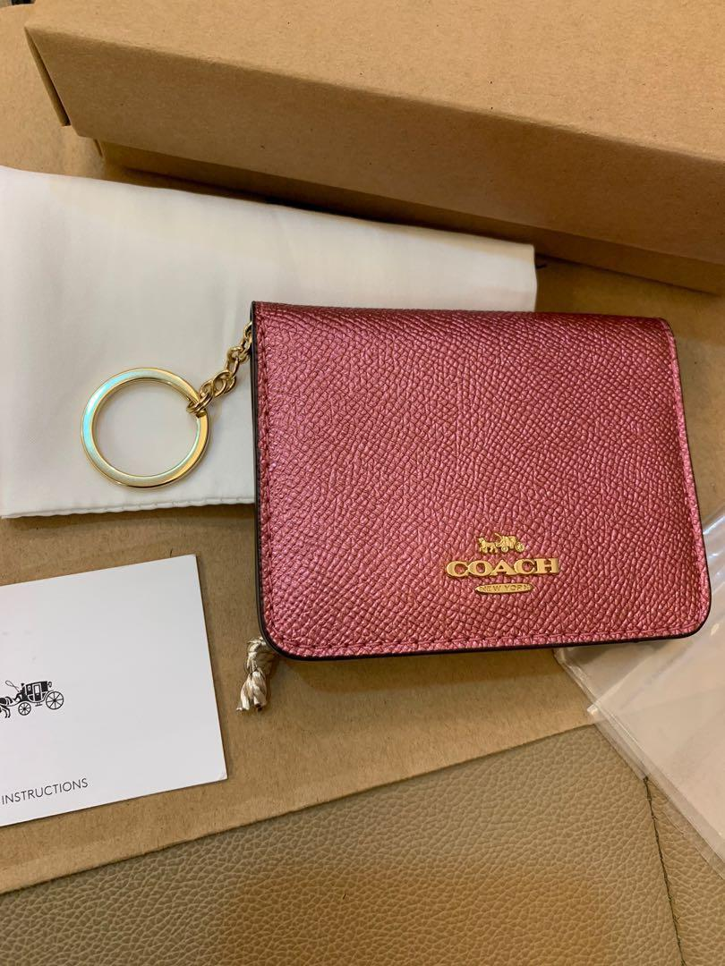 (Dec 19)Ready Stock authentic coach women bifold short wallet purse key chain card holder chirstmas 🎁